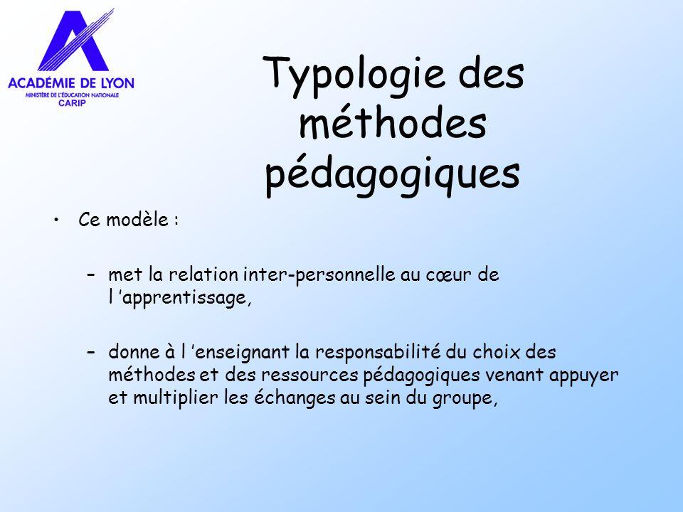 Typologie des méthodes pédagogiques Ce modèle : –met la relation inter-personnelle au cœur de l apprentissage, –donne à l enseignant la responsabilité