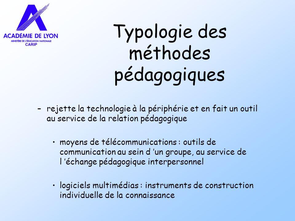 Typologie des méthodes pédagogiques –rejette la technologie à la périphérie et en fait un outil au service de la relation pédagogique moyens de téléco