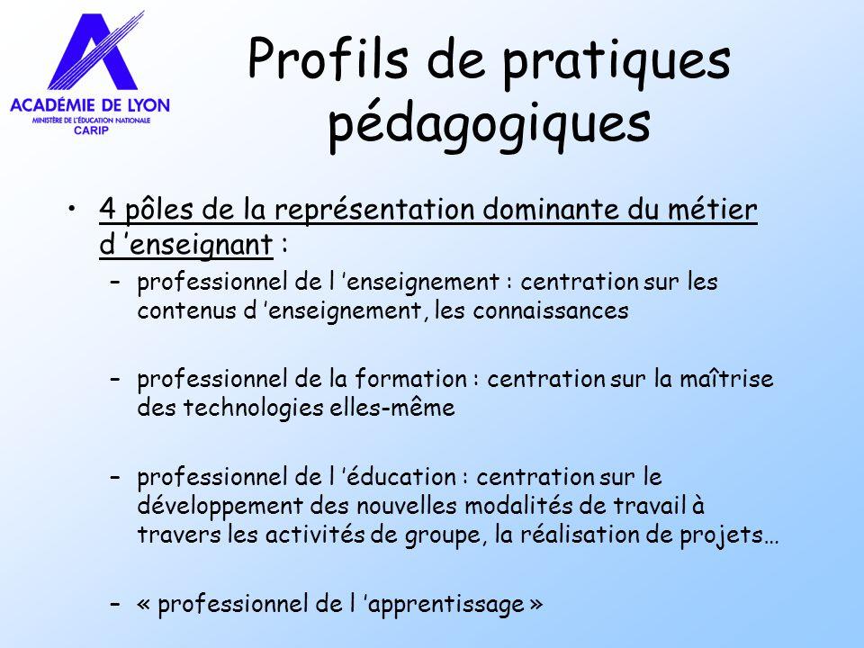 Profils de pratiques pédagogiques 4 pôles de la représentation dominante du métier d enseignant : –professionnel de l enseignement : centration sur le