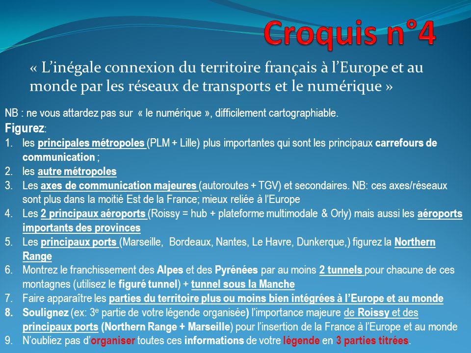 « Linégale connexion du territoire français à lEurope et au monde par les réseaux de transports et le numérique » NB : ne vous attardez pas sur « le n