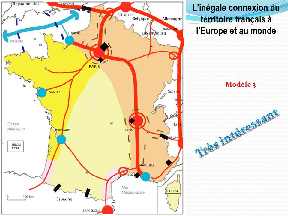 Linégale connexion du territoire français à lEurope et au monde Modèle 3