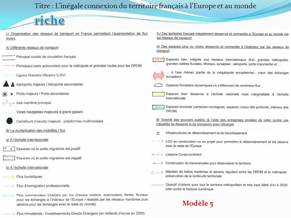 Titre : Linégale connexion du territoire français à lEurope et au monde Modèle 5