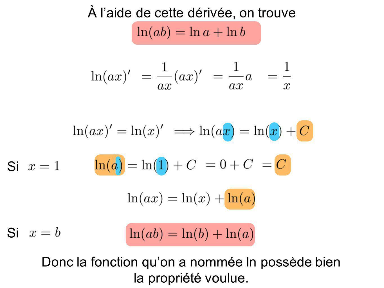 À laide de cette dérivée, on trouve Si Donc la fonction quon a nommée ln possède bien la propriété voulue.