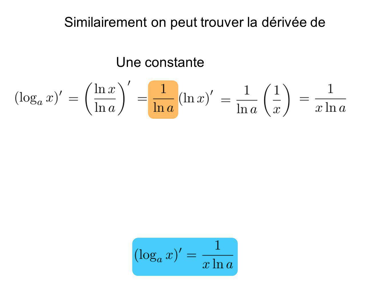 Une constante Similairement on peut trouver la dérivée de
