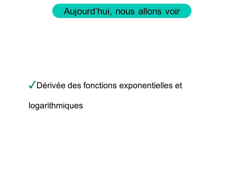 Calculons la dérivée de ces fonctions Si cette limite existe, cest une constante.