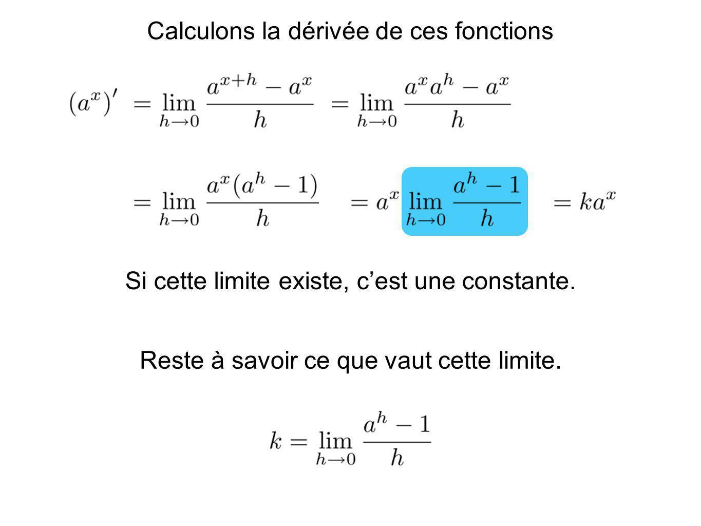 Calculons la dérivée de ces fonctions Si cette limite existe, cest une constante. Reste à savoir ce que vaut cette limite.
