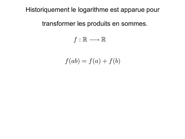 Historiquement le logarithme est apparue pour transformer les produits en sommes.