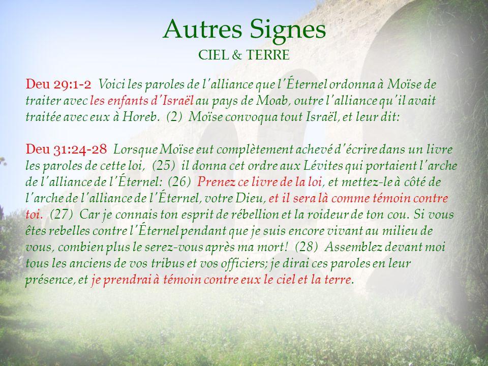Autres Signes CIEL & TERRE Deu 29:1-2 Voici les paroles de l'alliance que l'Éternel ordonna à Moïse de traiter avec les enfants d'Israël au pays de Mo