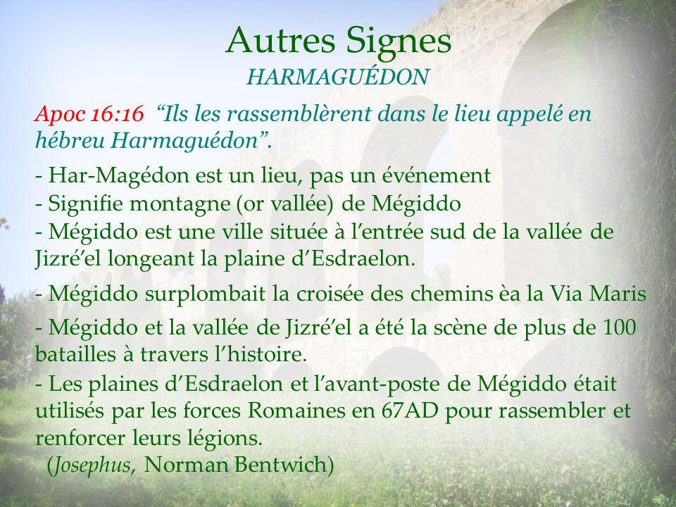 Autres Signes HARMAGUÉDON - Signifie montagne (or vallée) de Mégiddo - Har-Magédon est un lieu, pas un événement - Mégiddo est une ville située à lent