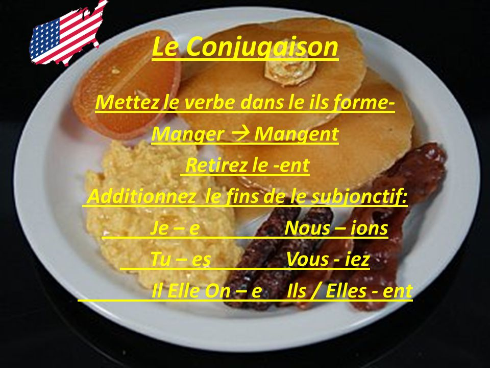 Le Conjugaison Mettez le verbe dans le ils forme- Manger Mangent Retirez le -ent Additionnez le fins de le subjonctif: Je – e Nous – ions Tu – es Vous - iez Il Elle On – e Ils / Elles - ent