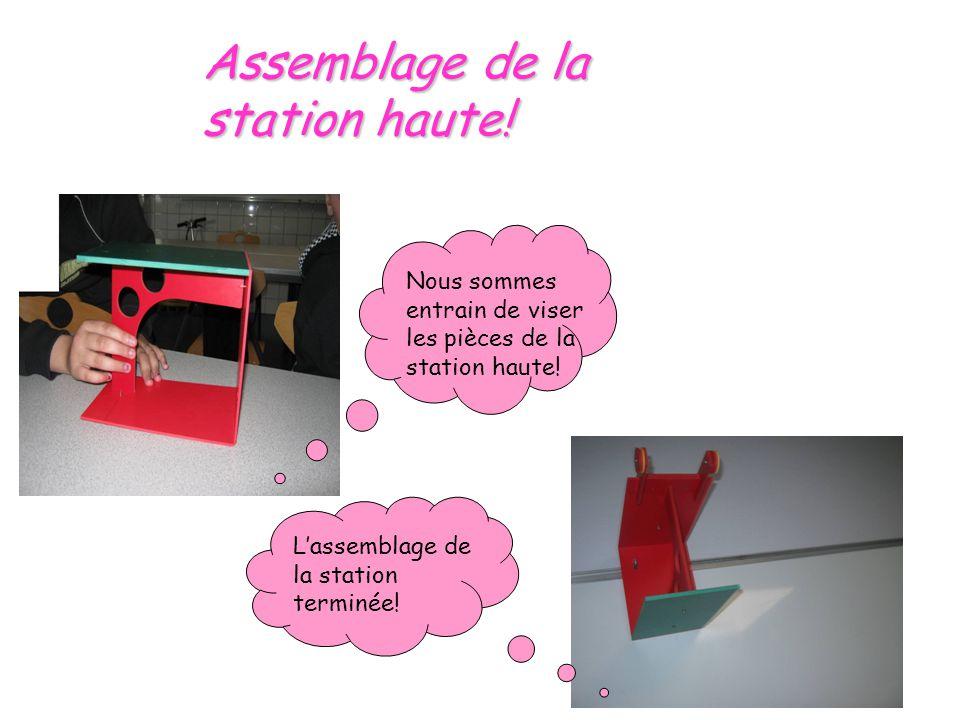 Assemblage de la station haute! Nous sommes entrain de viser les pièces de la station haute! Lassemblage de la station terminée!