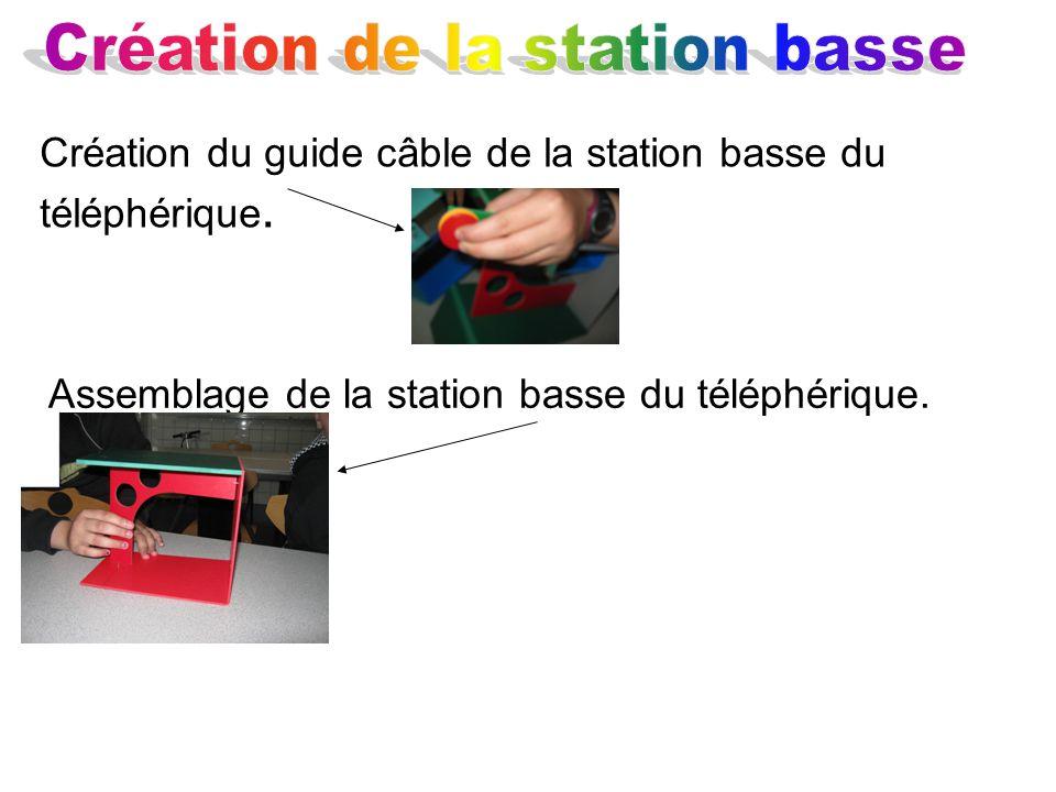 Création du guide câble de la station basse du téléphérique. Assemblage de la station basse du téléphérique.