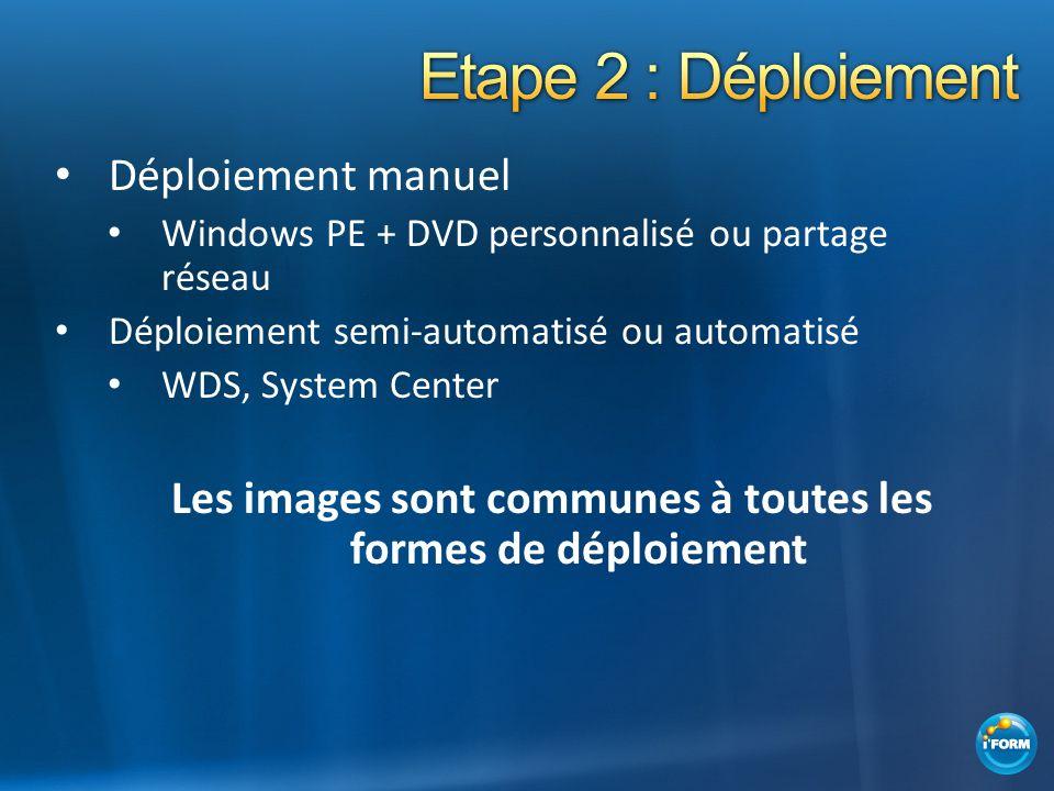 Déploiement manuel Windows PE + DVD personnalisé ou partage réseau Déploiement semi-automatisé ou automatisé WDS, System Center Les images sont commun