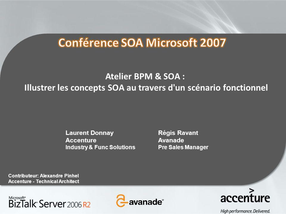 Atelier BPM & SOA : Illustrer les concepts SOA au travers d'un scénario fonctionnel Contributeur: Alexandre Pinhel Accenture - Technical Architect Rég