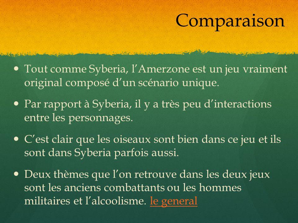 Tout comme Syberia, lAmerzone est un jeu vraiment original composé dun scénario unique. Par rapport à Syberia, il y a très peu dinteractions entre les