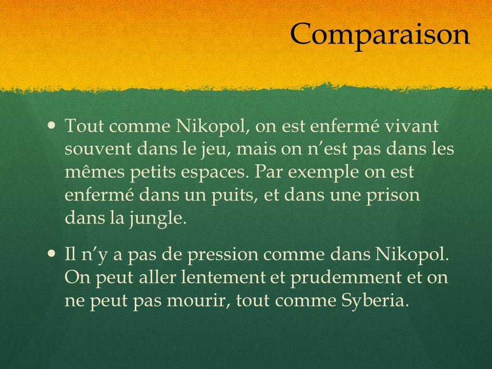 Tout comme Nikopol, on est enfermé vivant souvent dans le jeu, mais on nest pas dans les mêmes petits espaces. Par exemple on est enfermé dans un puit