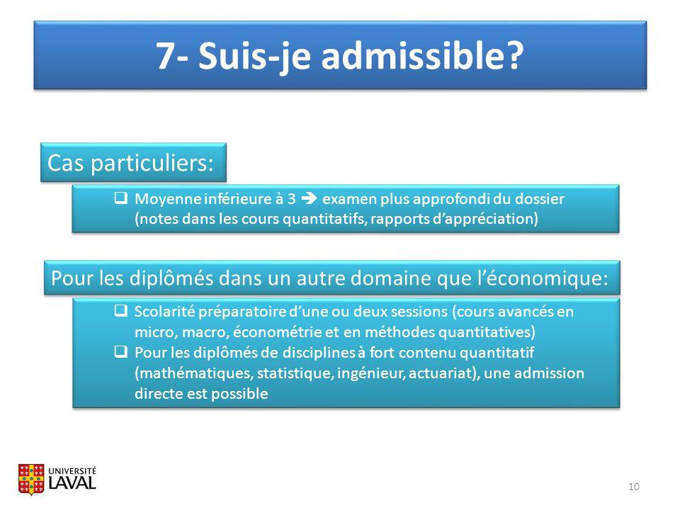 7- Suis-je admissible? 10 Pour les diplômés dans un autre domaine que léconomique: Scolarité préparatoire dune ou deux sessions (cours avancés en micr