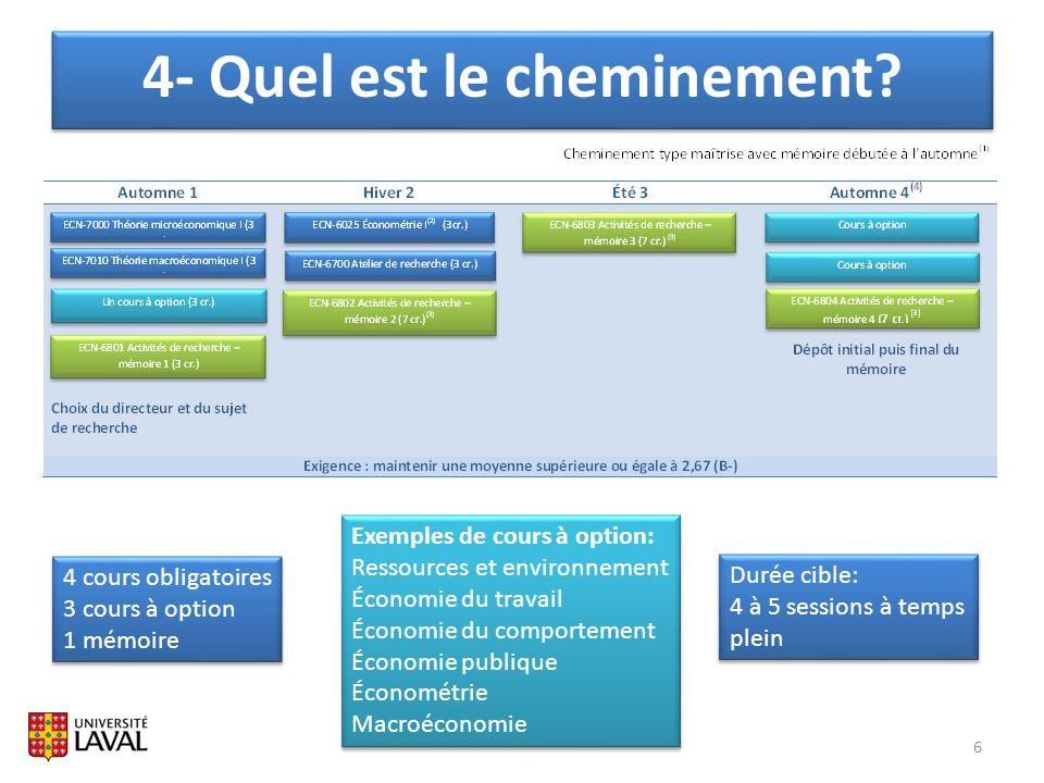 6 4 cours obligatoires 3 cours à option 1 mémoire 4 cours obligatoires 3 cours à option 1 mémoire Exemples de cours à option: Ressources et environnem