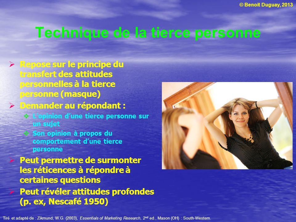 © Benoit Duguay, 2013 Technique de la tierce personne Repose sur le principe du transfert des attitudes personnelles à la tierce personne (masque) Dem
