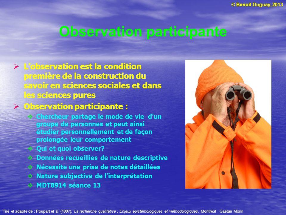 © Benoit Duguay, 2013 Observation participante Lobservation est la condition première de la construction du savoir en sciences sociales et dans les sc