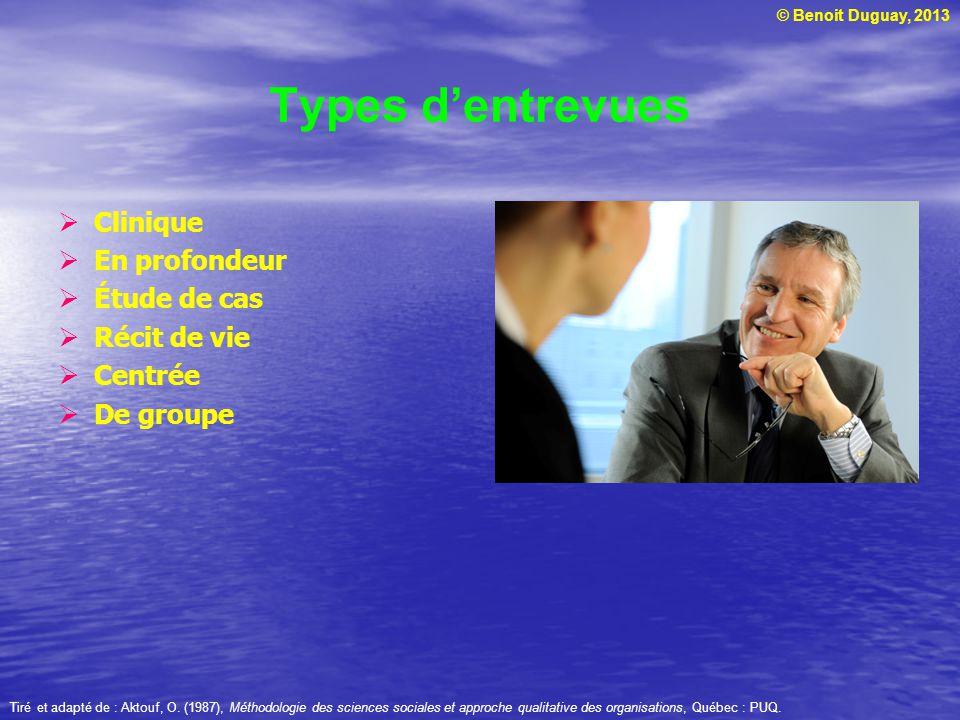 © Benoit Duguay, 2013 Types dentrevues Clinique En profondeur Étude de cas Récit de vie Centrée De groupe Tiré et adapté de : Aktouf, O.