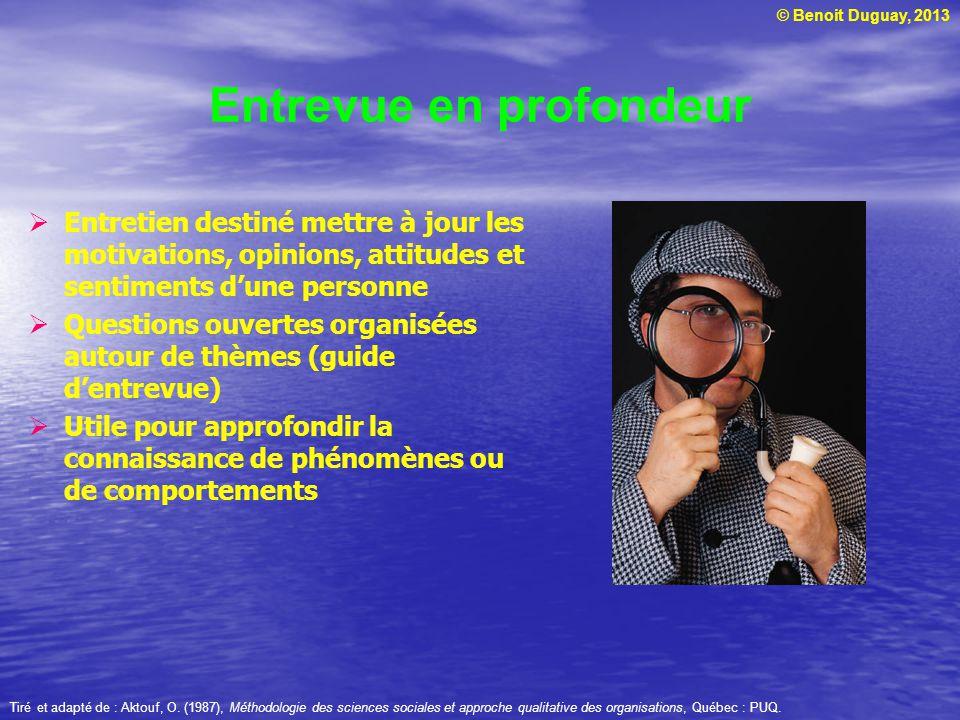 © Benoit Duguay, 2013 Entrevue en profondeur Entretien destiné mettre à jour les motivations, opinions, attitudes et sentiments dune personne Question