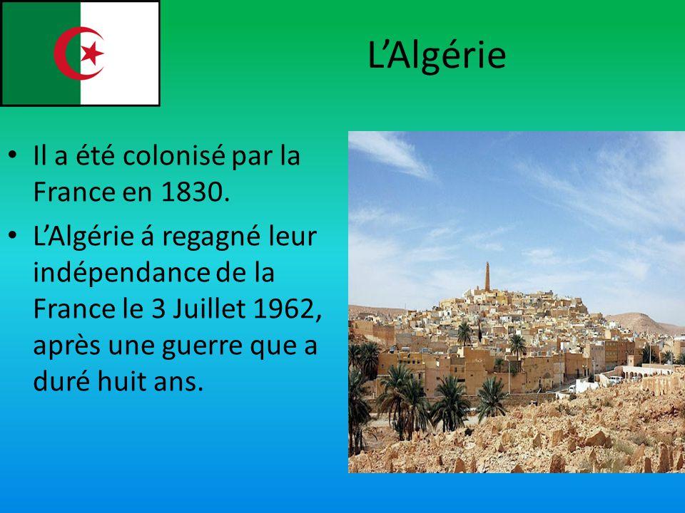 LAlgérie Il a été colonisé par la France en 1830. LAlgérie á regagné leur indépendance de la France le 3 Juillet 1962, après une guerre que a duré hui