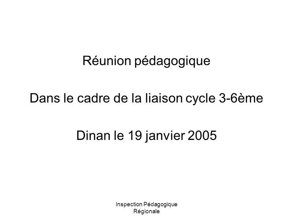 Inspection Pédagogique Régionale Réunion pédagogique Dans le cadre de la liaison cycle 3-6ème Dinan le 19 janvier 2005