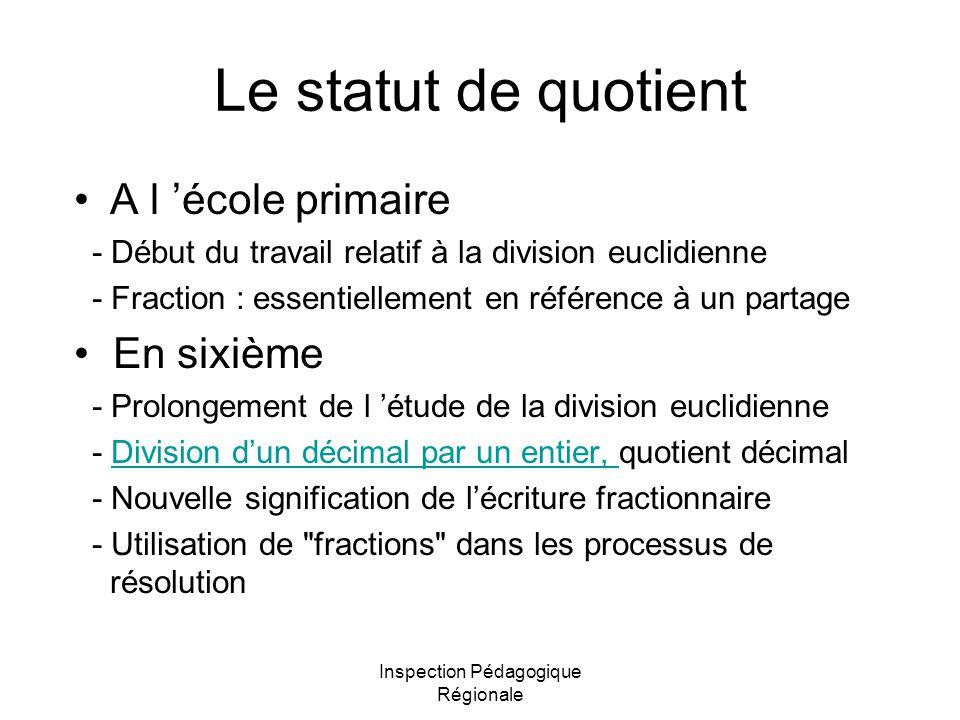 Inspection Pédagogique Régionale Le statut de quotient A l école primaire - Début du travail relatif à la division euclidienne - Fraction : essentiell