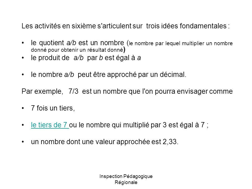 Inspection Pédagogique Régionale Les activités en sixième s articulent sur trois idées fondamentales : le quotient a/b est un nombre ( le nombre par lequel multiplier un nombre donné pour obtenir un résultat donné ) le produit de a/b par b est égal à a le nombre a/b peut être approché par un décimal.