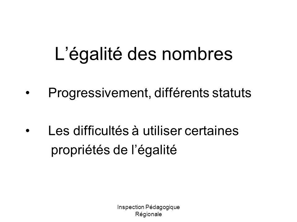 Inspection Pédagogique Régionale Légalité des nombres Progressivement, différents statuts Les difficultés à utiliser certaines propriétés de légalité