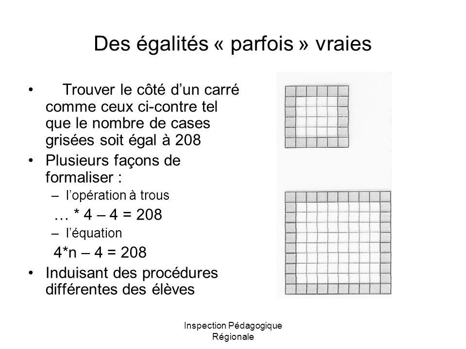 Inspection Pédagogique Régionale Des égalités « parfois » vraies Trouver le côté dun carré comme ceux ci-contre tel que le nombre de cases grisées soi