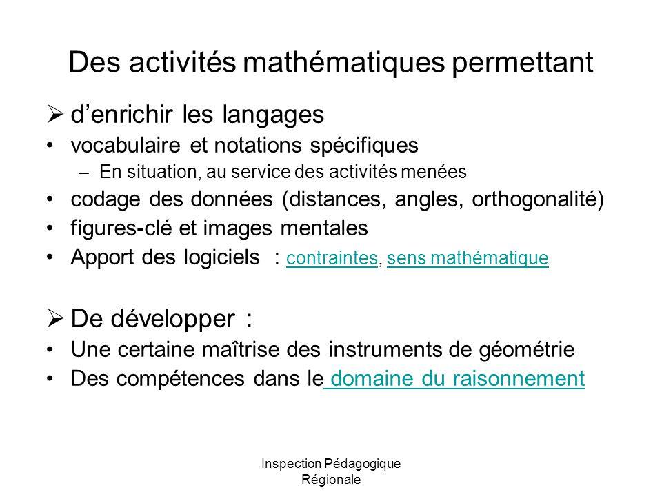 Inspection Pédagogique Régionale Des activités mathématiques permettant denrichir les langages vocabulaire et notations spécifiques –En situation, au