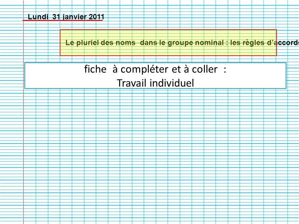 Lundi 31 janvier 2011 Le pluriel des noms dans le groupe nominal : les règles daccords fiche à compléter et à coller : Travail individuel