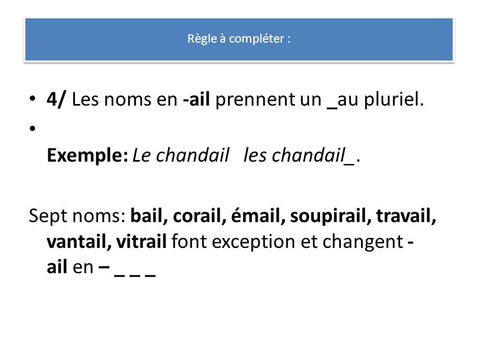 4/ Les noms en -ail prennent un _au pluriel. Exemple: Le chandail les chandail_. Sept noms: bail, corail, émail, soupirail, travail, vantail, vitrail