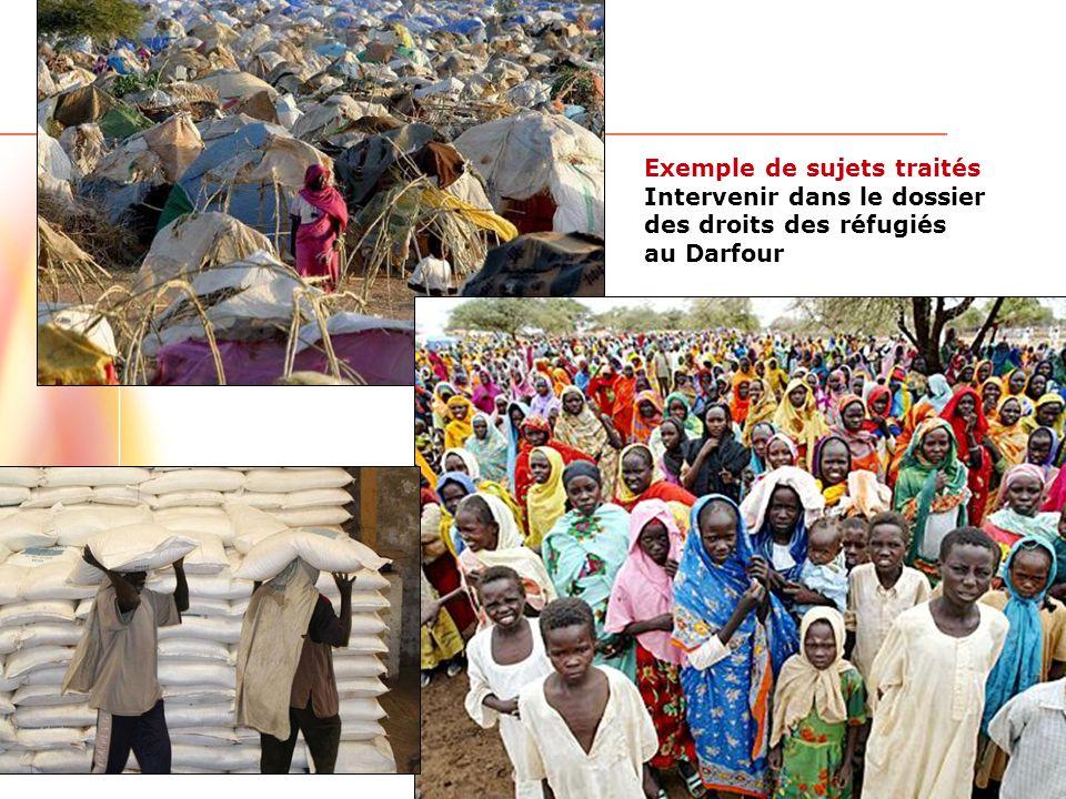 www.ulaval.ca 8 Exemple de sujets traités Intervenir dans le dossier des droits des réfugiés au Darfour