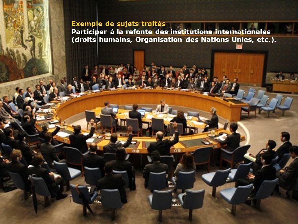 www.ulaval.ca 9 Exemple de sujets traités Participer à la refonte des institutions internationales (droits humains, Organisation des Nations Unies, etc.).