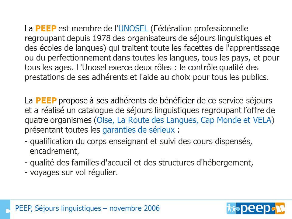 La PEEP est membre de lUNOSEL (Fédération professionnelle regroupant depuis 1978 des organisateurs de séjours linguistiques et des écoles de langues)