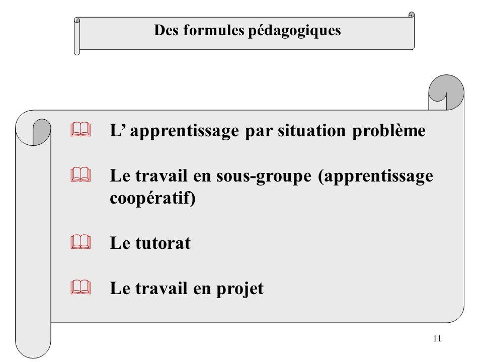 11 L apprentissage par situation problème Le travail en sous-groupe (apprentissage coopératif) Le tutorat Le travail en projet Des formules pédagogiqu