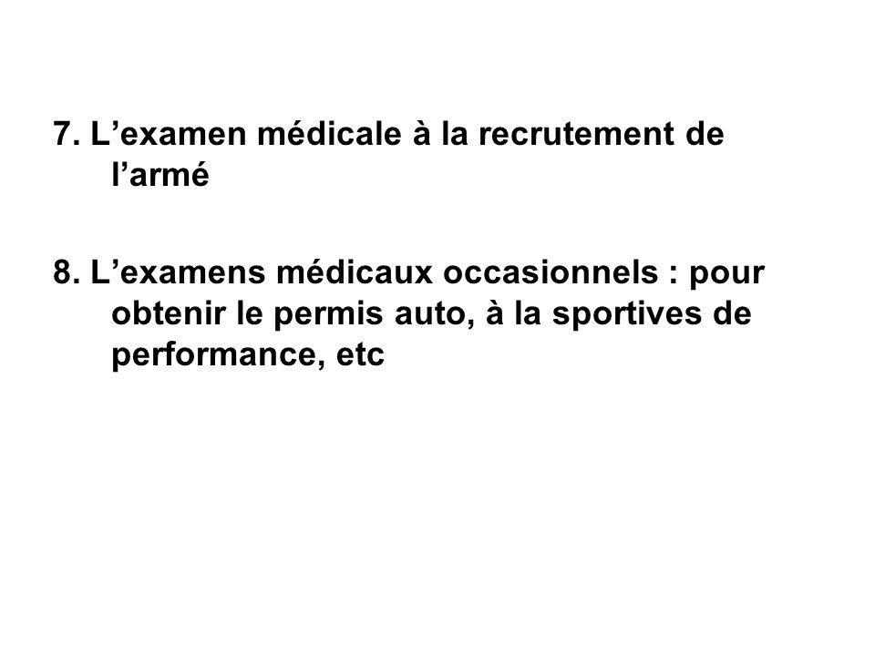 7. Lexamen médicale à la recrutement de larmé 8. Lexamens médicaux occasionnels : pour obtenir le permis auto, à la sportives de performance, etc