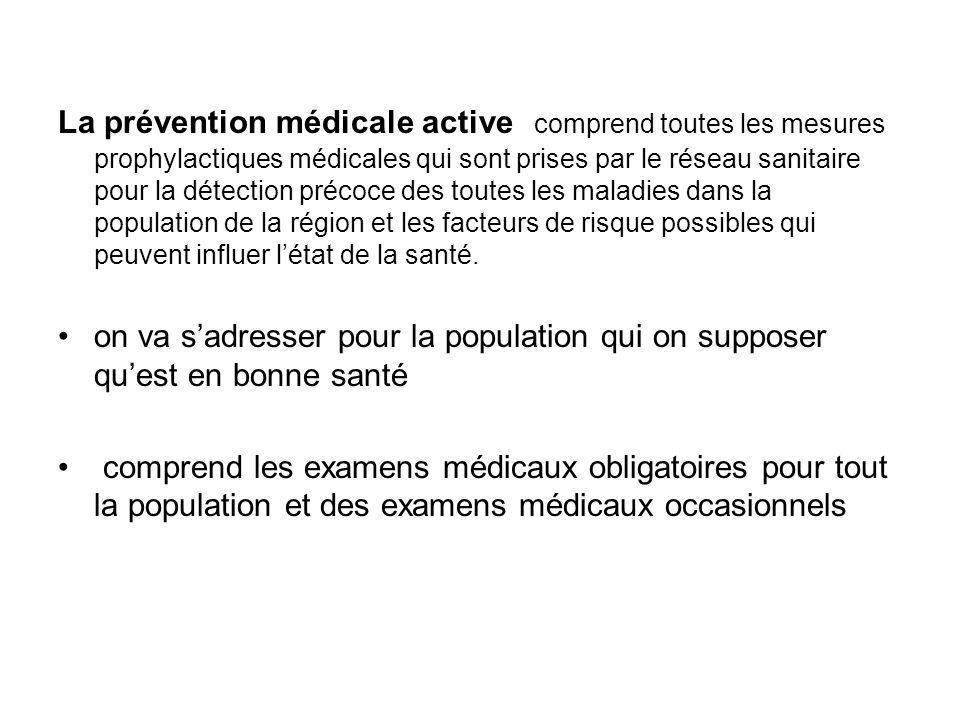 La prévention médicale active comprend toutes les mesures prophylactiques médicales qui sont prises par le réseau sanitaire pour la détection précoce