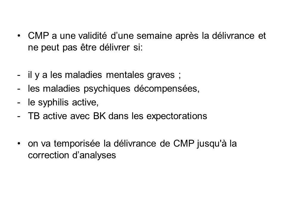 CMP a une validité dune semaine après la délivrance et ne peut pas être délivrer si: -il y a les maladies mentales graves ; -les maladies psychiques d