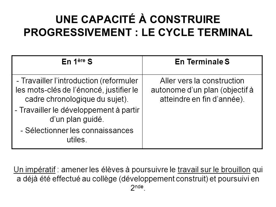 UNE CAPACITÉ À CONSTRUIRE PROGRESSIVEMENT : LE CYCLE TERMINAL En 1 ère SEn Terminale S - Travailler lintroduction (reformuler les mots-clés de lénoncé