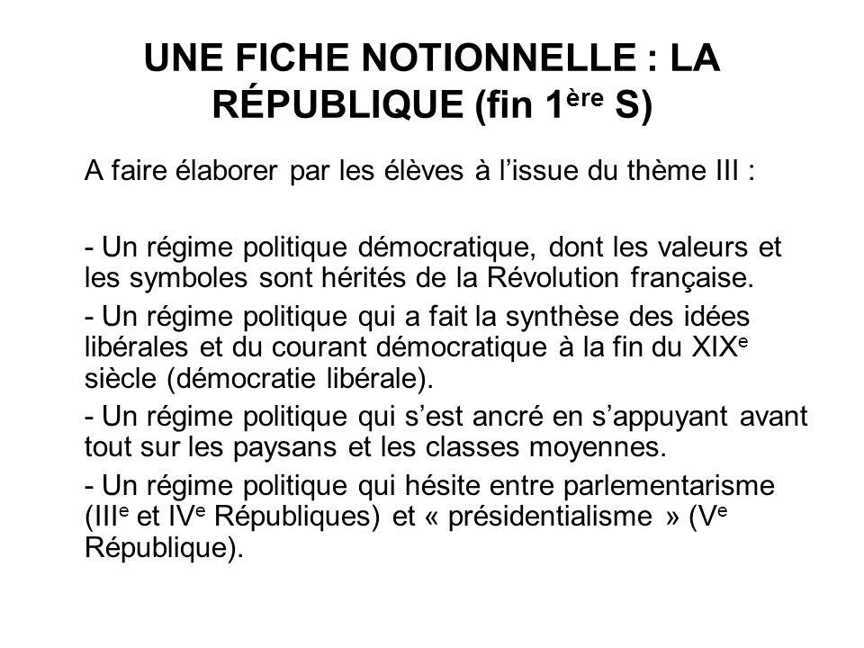 UNE FICHE NOTIONNELLE : LA RÉPUBLIQUE (fin 1 ère S) A faire élaborer par les élèves à lissue du thème III : - Un régime politique démocratique, dont l