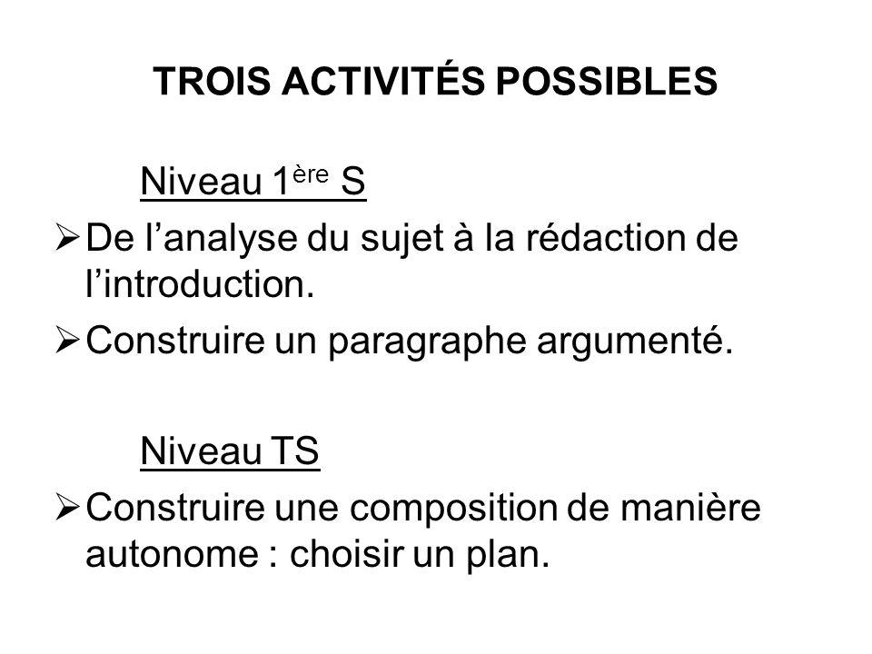 TROIS ACTIVITÉS POSSIBLES Niveau 1 ère S De lanalyse du sujet à la rédaction de lintroduction. Construire un paragraphe argumenté. Niveau TS Construir