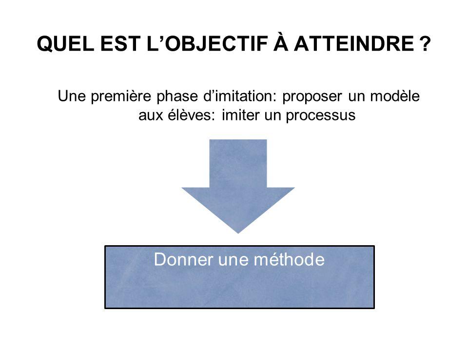QUEL EST LOBJECTIF À ATTEINDRE ? Une première phase dimitation: proposer un modèle aux élèves: imiter un processus Donner une méthode