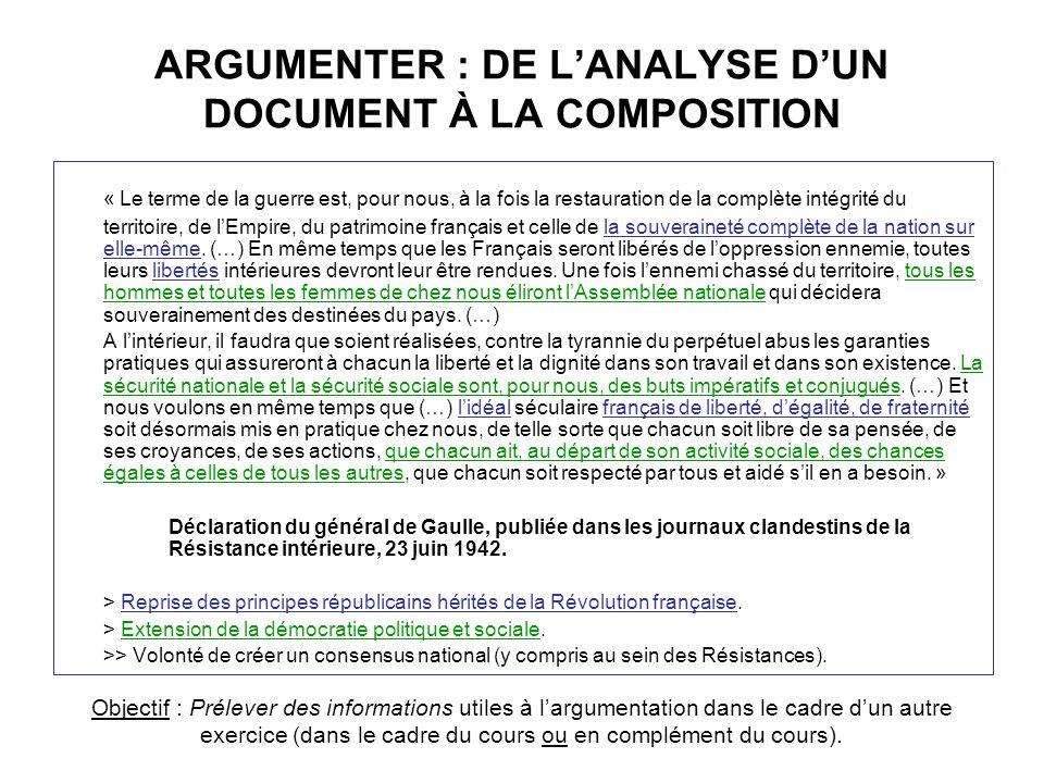 ARGUMENTER : DE LANALYSE DUN DOCUMENT À LA COMPOSITION « Le terme de la guerre est, pour nous, à la fois la restauration de la complète intégrité du t