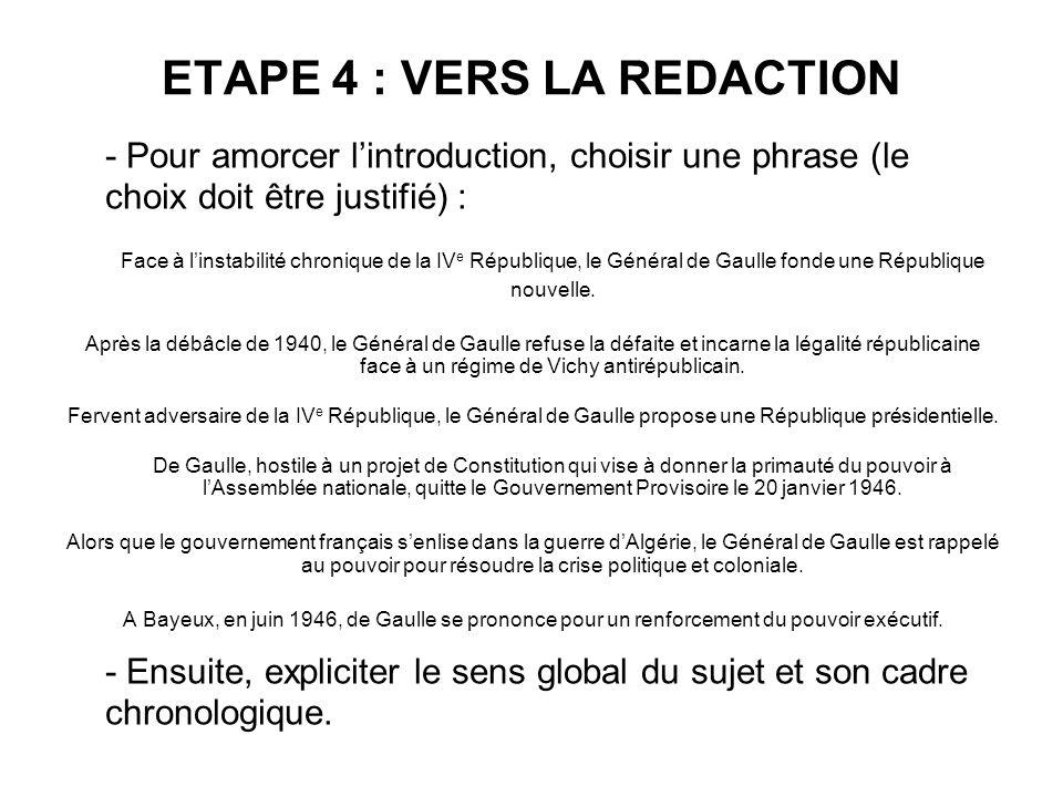 ETAPE 4 : VERS LA REDACTION - Pour amorcer lintroduction, choisir une phrase (le choix doit être justifié) : Face à linstabilité chronique de la IV e