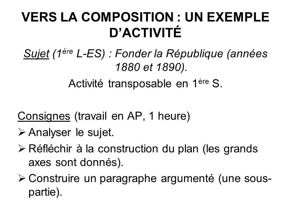 VERS LA COMPOSITION : UN EXEMPLE DACTIVITÉ Sujet (1 ère L-ES) : Fonder la République (années 1880 et 1890). Activité transposable en 1 ère S. Consigne
