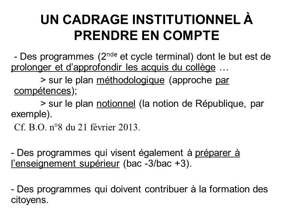 UN CADRAGE INSTITUTIONNEL À PRENDRE EN COMPTE - Des programmes (2 nde et cycle terminal) dont le but est de prolonger et dapprofondir les acquis du co